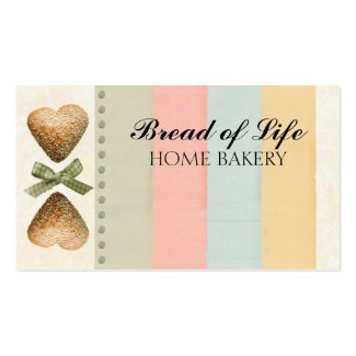 Heart loaf of bread bakery baking business card
