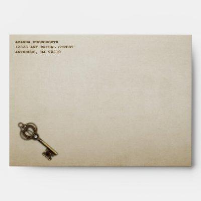 Heart Lock and Skeleton Key Wedding Envelopes