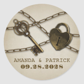Heart Lock and Skeleton Key Wedding Favor Stickers