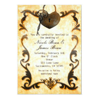Heart Lock & Key Vintage Rustic Wedding Invitation