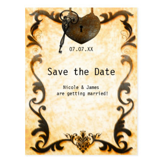 Heart Lock & Key Vintage Save The Date Postcard