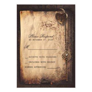 Heart lock & key vintage wedding RSVP cards