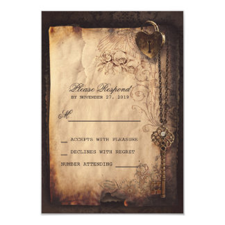 Heart lock & key vintage wedding RSVP cards