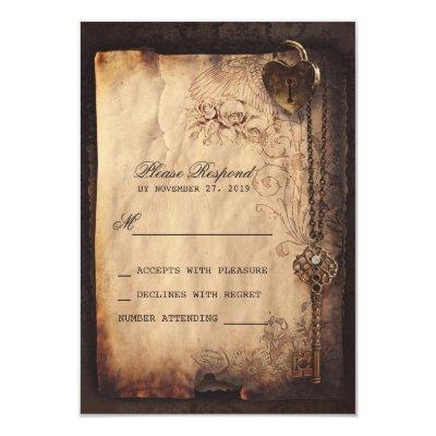 High Quality Old Skeleton Key Vintage And Gothic Wedding Card   Zazzle