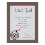 Heart Lock Wedding Flat Thank You Card