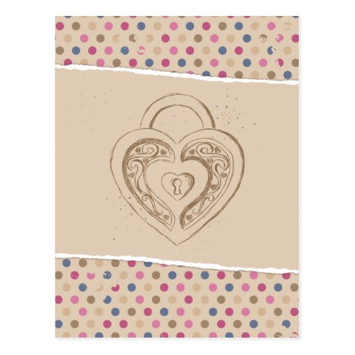 Heart Lock with polkadots Postcard