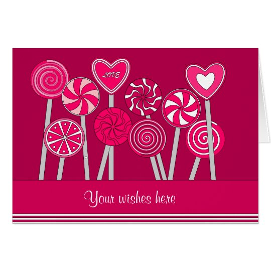 Heart Lollipops Design Greeting Card