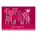 Heart Lollipops Design Greeting Card Card