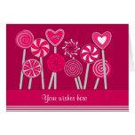 Heart Lollipops Design Greeting Card Card