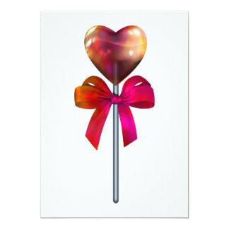 Heart lollypop invitations