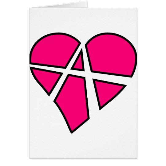 Heart Love Anarchy Symbol Anarchist Anarchism Card