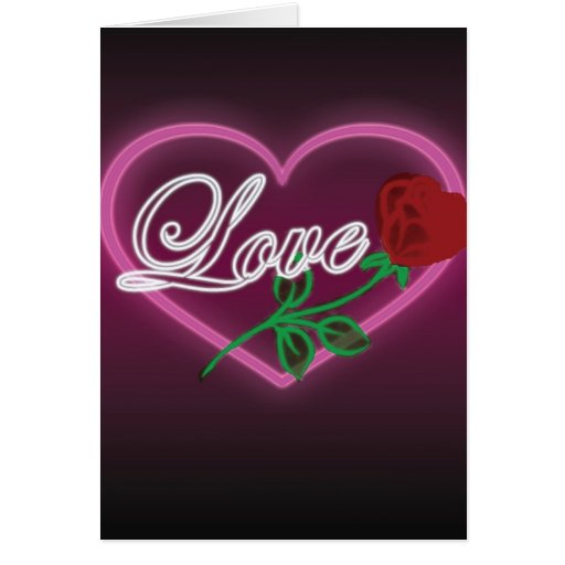 Heart, Love and Rose Greeting Card