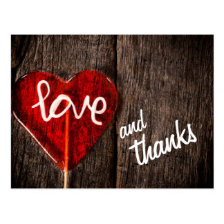 Heart Love and Thanks Rustic Barn Wood Thank You Postcard
