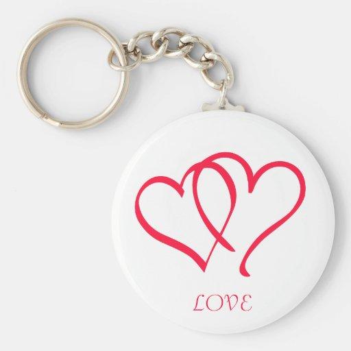heart, LOVE Basic Round Button Keychain