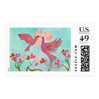 Heart & love birds stamp with 5 background options