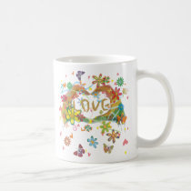 colorful, girl, illustration, pop, funny, cute, cool, vintage, heart, animal, love, sweet, sweetheart, romance, pop art, Caneca com design gráfico personalizado