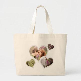 Heart Love Cute Custom Romantic Photo Gifts Large Tote Bag