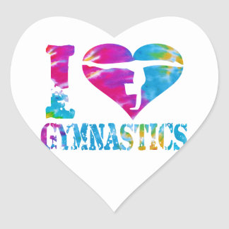 Heart Love Dance Gymnastics Cheer Sticker Tie Dye