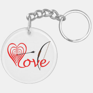 Heart love Dartscheibe with arrow and sheet Keychain