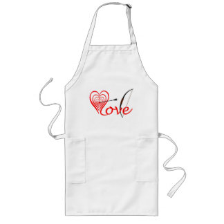 Heart love Dartscheibe with arrow and sheet Long Apron