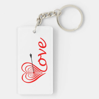 Heart love Dartscheibe with arrow Keychain