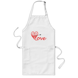 Heart love Dartscheibe with arrow Long Apron