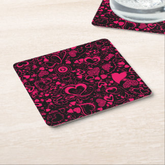 Heart Love Doodles Pink-Black-Disposable Coasters