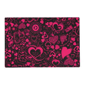 Heart Love Doodles Pink-Black-Laminated Placemat