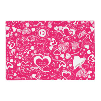 Heart Love Doodles Pink-white-Laminated Placemat