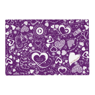 Heart Love Doodles Purple-White-Laminated Placemat