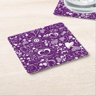 Heart Love Doodles Purple-Wht-Disposable Coasters