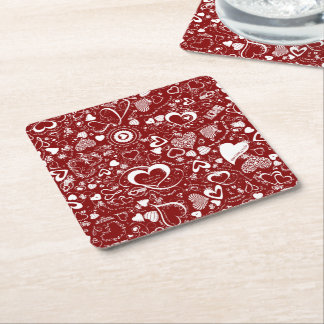 Heart Love Doodles Red-White-Disposable Coasters