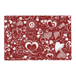 Heart Love Doodles Red-white-Laminated Placemat