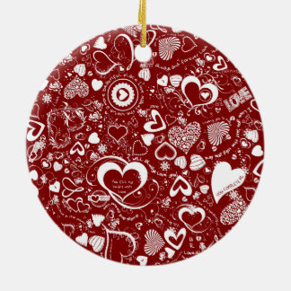 Heart Love Doodles Round Ornament