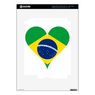 Heart Love Flag Brazil Heart Shaped iPad 3 Skins