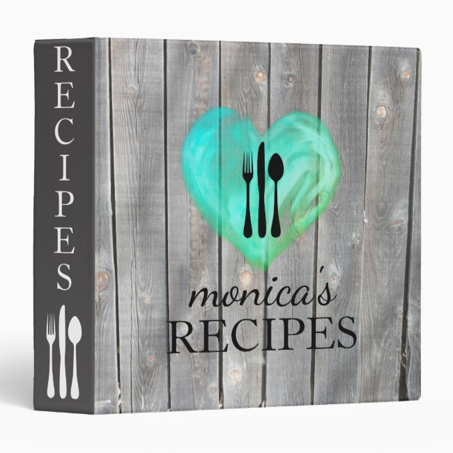 Heart Love Gray Wood Recipe Cooking Classic 3 Ring Binder