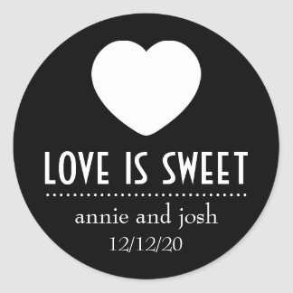 Heart Love Is Sweet Labels (Black) Classic Round Sticker