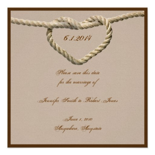 Heart Love Knot Western Wedding Save The Date Square Paper Invitati