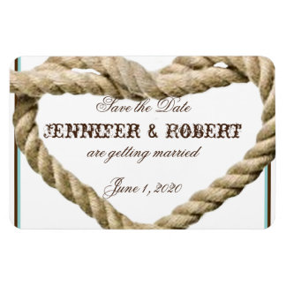 Heart Love Knot Western Wedding Save the Date Rectangular Photo Magnet