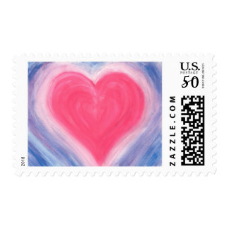 Heart Love Pink Painting Postage Stamps