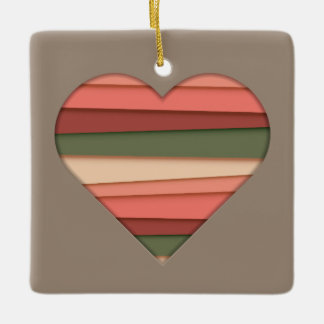 Heart Love Striped Valentine's Day Ceramic Ornament