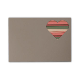 Heart Love Striped Valentine's Day Post-it Notes