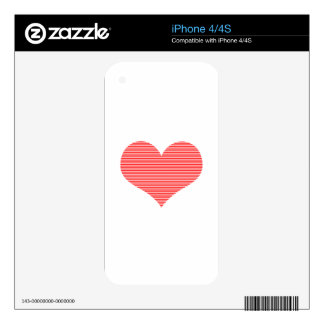 Heart - love - strips - red and white. decal for the iPhone 4S