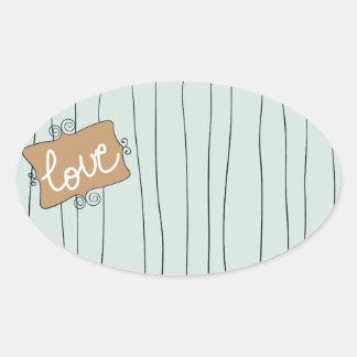 Heart love the Valentins Oval Sticker