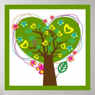 Heart love tree green custom poster