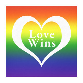 Heart Love Wins Rainbow Canvas Print