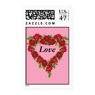 Heart Love Wreath Red Roses Postage