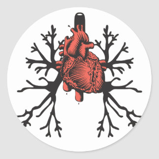 Heart & Lungs Classic Round Sticker