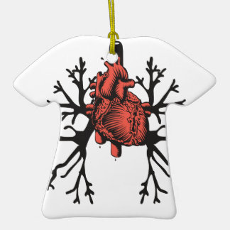 Heart & Lungs Double-Sided T-Shirt Ceramic Christmas Ornament