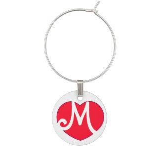 Heart M Initial Wine Glass Charm
